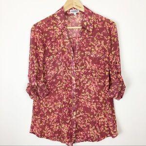 Express portofino shirt Large floral pink neon